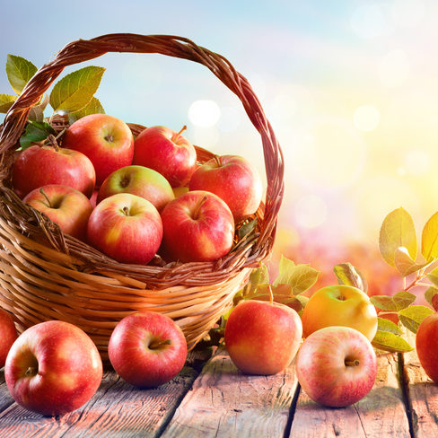 Red Apples In Basket On Wooden Table At Sunset